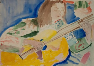 Selfportrait with yellow guitar