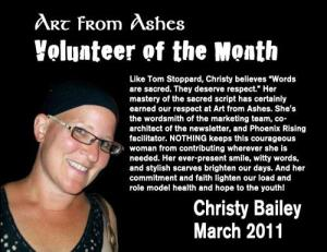 Christy Art from Ashes Volunteer of the Month